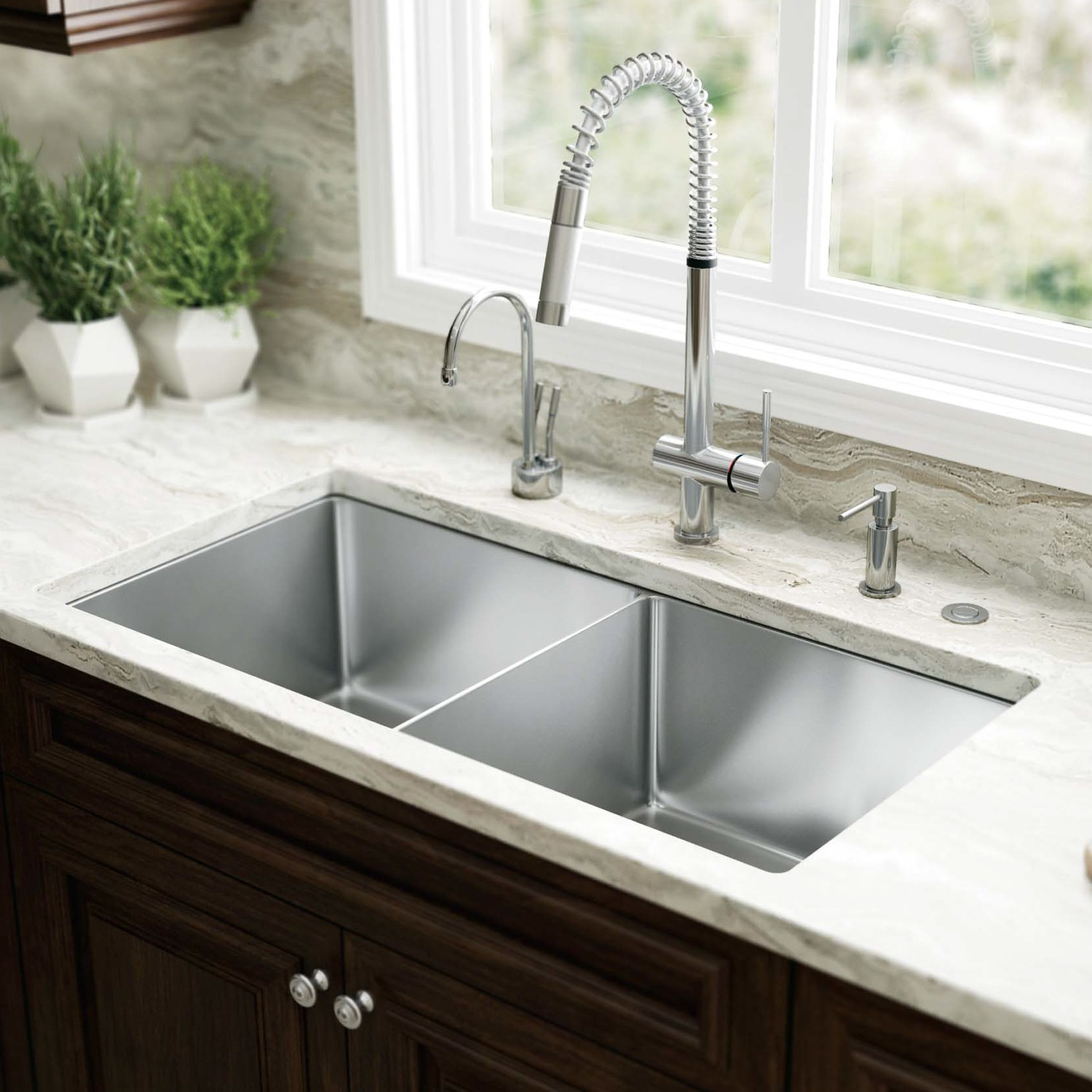 Kitchen sinks accessories designer 39 s plumbing for Best kitchen faucet for double sink